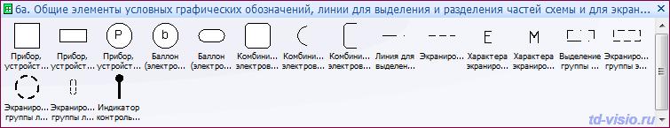 Трафареты Visio - Общие элементы условных графических обозначений, линии для выделения и разделения частей схемы и для экранирования.