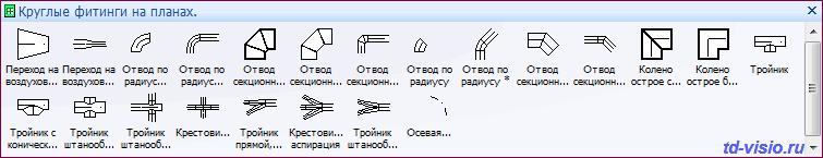 Фигуры (трафареты) Visio  Круглые фитинги на планах.