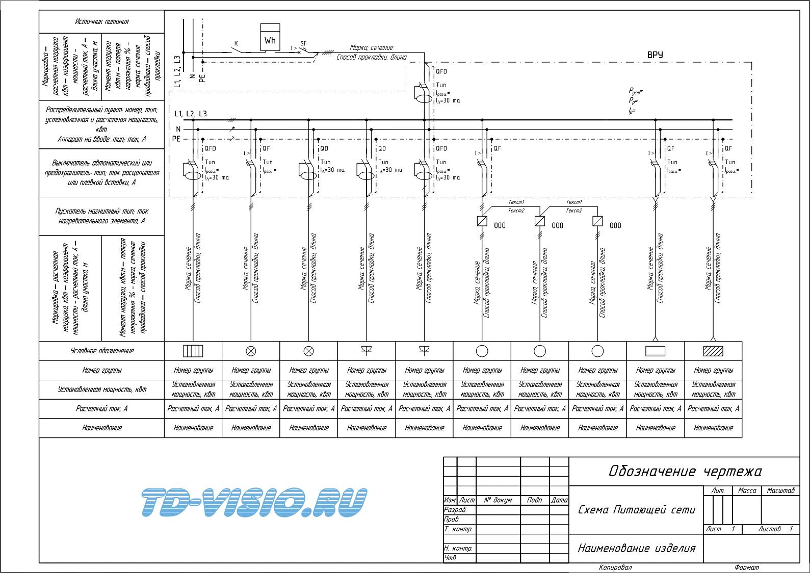 Однолинейная схема образец в ворде
